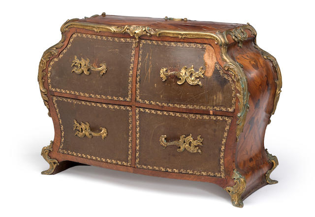 A Louis XV style gilt bronze and leather mounted marquetry cartonnier<BR />Gervais Durand<BR />fourth quarter 19th century