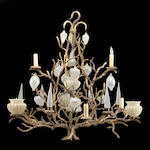 A grotto style gilt iron and glass eight light chandelier <BR /> Luciano Designs<BR />20th century
