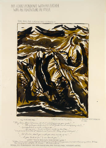 Raymond Pettibon (born 1957) Untitled (His Correspondence With his Father...) 30 x 22in (76.2 x 55.9cm)
