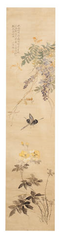 Tang Chun (19th Century) and Weng Luo (1790-1849)  Flowers after Yuan Masters, 1817; Wisteria and Butterfly