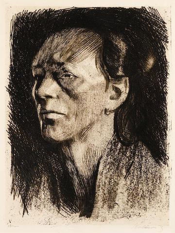 Käthe Kollwitz (1867-1945); Arbeiterfrau (mit dem ohrring);