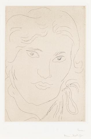 Henri Matisse (1869-1954); Jeune fille de face, flot de ruban sur l'épaule gauche, Pl. 157;
