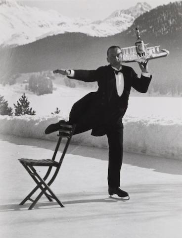 Alfred Eisenstaedt (1898-1995); René Breguet, Ice Skating Waiter, St. Moritz;