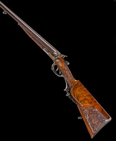 A fine engraved and gold-inlaid 16 gauge German double barrel hammer gun for Jacob Sackreuter of Frankfurt