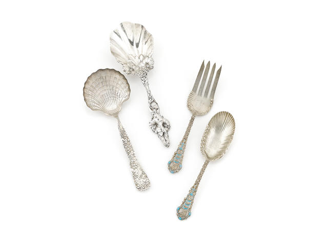 An assembled group of four American sterling silver serving flatware pieces by various makers, 20th century