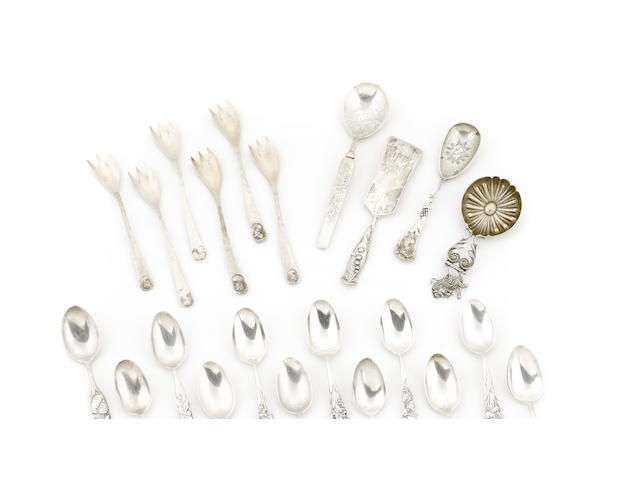 An assembled group of George Shiebler flatware