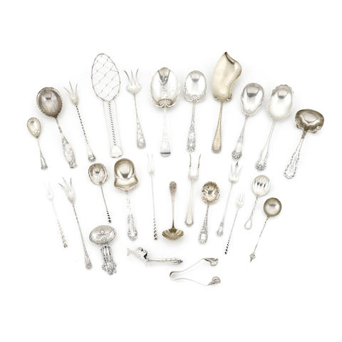 An assembled group of American sterling silver serving flatware by various makers, 19th / 20th century