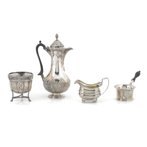 A Georgian silver coffee pot, salt cellars and brandy pan