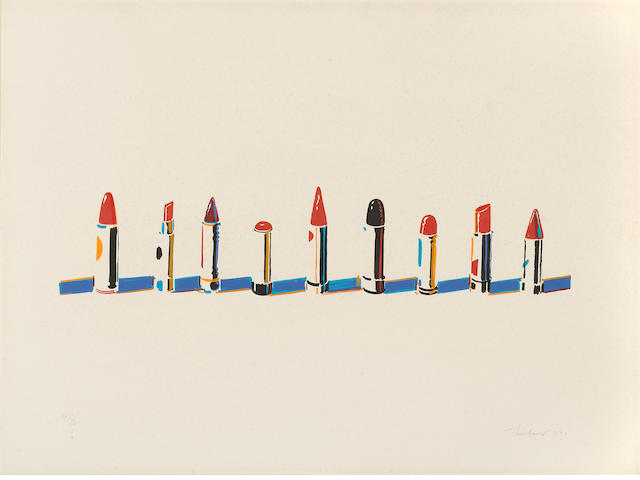 Wayne Thiebaud (born 1920); Lipstick Row, from Seven Still-Lifes and a Rabbit;