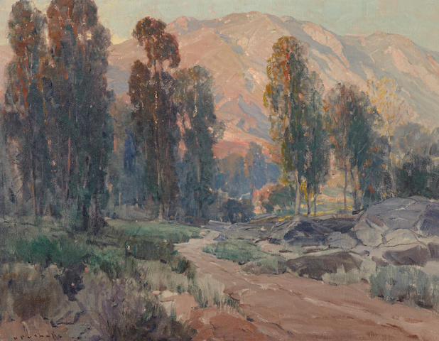 Hanson Puthuff (American, 1875-1972) Road to the hills 28 1/4 x 36 1/4in