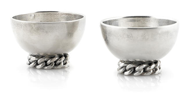 A pair of Jean Després silverplate egg cups circa 1950