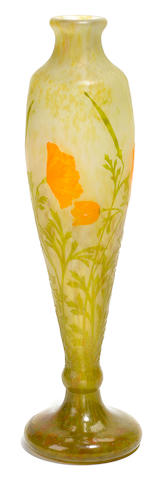 A Daum Nancy engraved cameo glass Poppy vase circa 1900