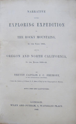 FREMONT, JOHN CHARLES. 1813-1890.  Narrative of an Exploring Trip to the Rocky Mountains, In the Year 1842 and to Oregon and North California, In the Years 1843-44. London: Wiley & Putnam, 1846.<BR />