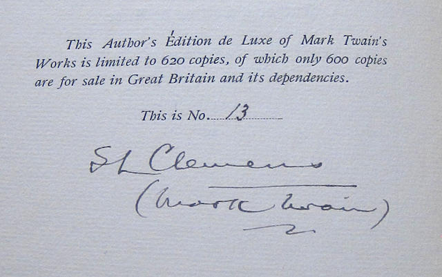 CLEMENS, SAMUEL LANGHORNE. 1835-1910. The Writings. London: Chatto & Windus, 1899-1907.
