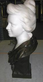 A patinated bronze and marble idealized bust of a woman <BR />after a model by P. Bobbias<BR />early 20th century