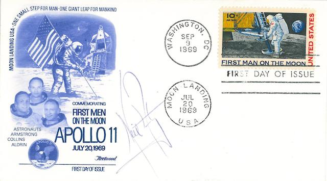 ARMSTRONG-SIGNED POSTAL COVER. Postal envelope with a Fleetwood cachet featuring the flag-planting, Apollo 11 crew,