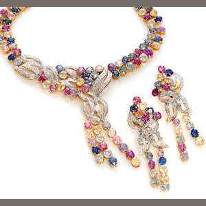 A multi-color sapphire and diamond necklace together with earrings en suite