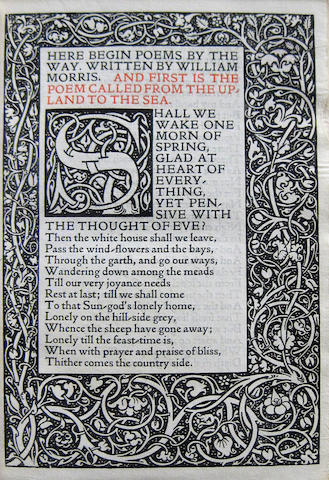 KELMSCOTT PRESS. MORRIS, WILLIAM. Poems by the Way. Hammersmith: printed by William Morris at the Kelmscott Press, September, 1891.