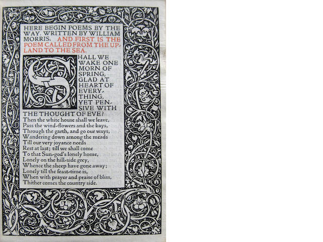 KELMSCOTT PRESS. MORRIS, WILLIAM. Poems by the Way. Hammersmith: printed by William Morris at the Kelmscott Press, September, 1891.<BR />