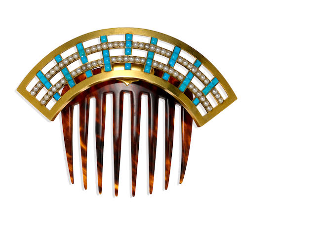 A turquoise, cultured pearl and tortoise shell hinged comb, French