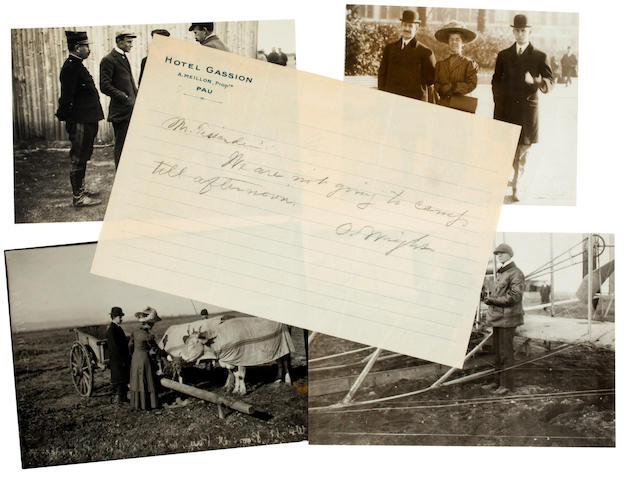 THE WRIGHTS AT PAU, 1909. Group of 4 black and white photographs, 4½ x 7 inches or similar, 3 with inkstamped credits on verso of J. Thézard, M. Rol and M. Branger,