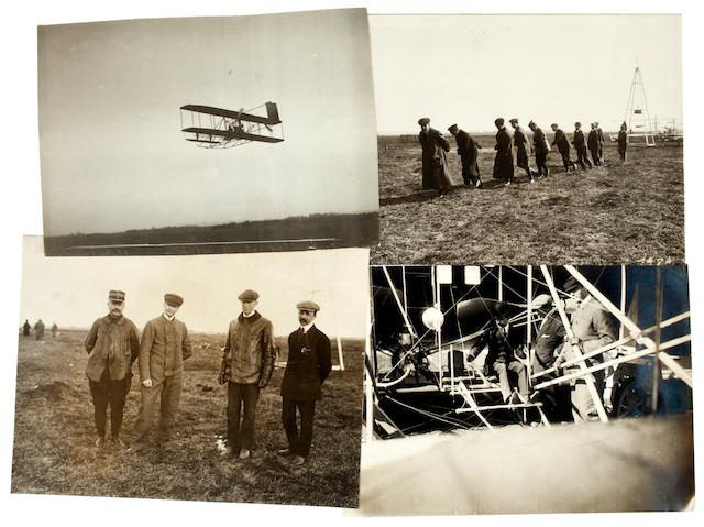 PILOT TRAINING, PAU, EARLY 1909. Group of 4 black and white photographs, 5 x 7 inches, 3 with inkstamped credits on verso of M. Rol.