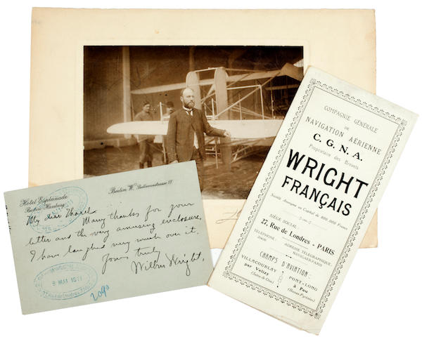 "WILBUR WRIGHT AND THE COMPAGNIE. 1. Autograph Note Signed (""Wilbur Wright""), 1 p, postcard, Berlin, May 6, 1911, to Georges Tharel, a director of the Compagnie Générale de Navigation Aérienne (C.G.N.A.), thanking him for a letter and enclosure and saying it amused him."