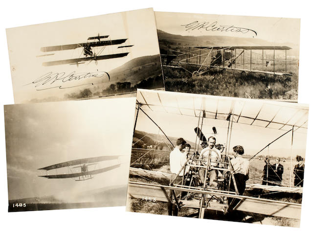 JUNE BUG AND CURTISS NO. 1. Group of 4 black and white photographs, 4½ x 6½ inches and smaller.