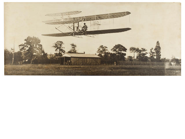 WILBUR SOARS AT HUNAUDIERES, LE MANS. Tinted black and white photograph, 9¾ x 23½ inches.