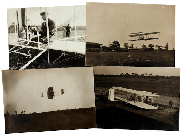WRIGHT AT HUNAUDIERES, AUGUST 1908. Group of 4 black and white photographs, 5 x 7 inches, 3 with inkstamped credits on verso of M. Rol, the fourth with credit of M. Branger.