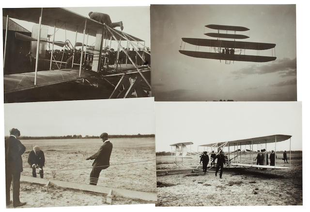 WRIGHT'S RECORD FLIGHT, OCTOBER 10, 1908. Group of 4 black and white photographs, 5 x 7 inches, with inkstamped credits on verso of M. Rol, Jacques Boyer, and Photographie du Journal.