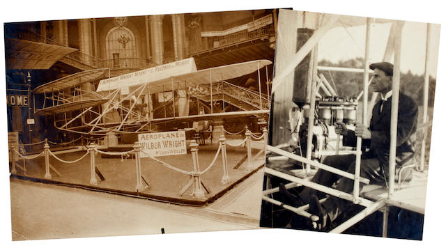 WRIGHT FLYER AT THE PARIS AIR SHOW, 1908. 2 black and white photographs, 7 x 9 and 7 x 5 inches, the larger with inkstamp on verso of M. Rol.