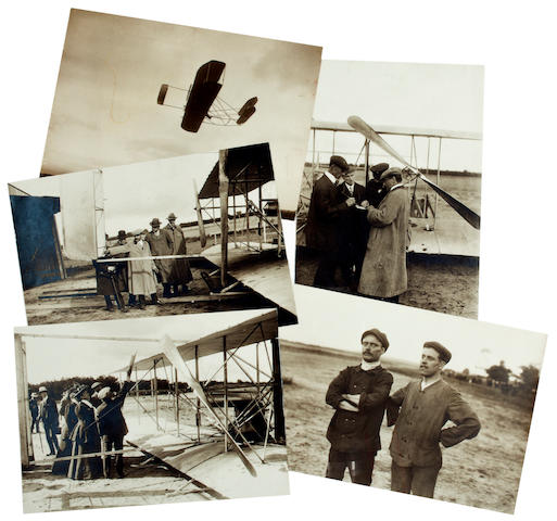 WRIGHT AT CAMP D'AUVOURS, 1908. Group of 15 black and white photographs, 5 x 7 inches and other sizes, inkstamps on verso of Rol, Photographie du Journal, Branger, and Théodoresco.