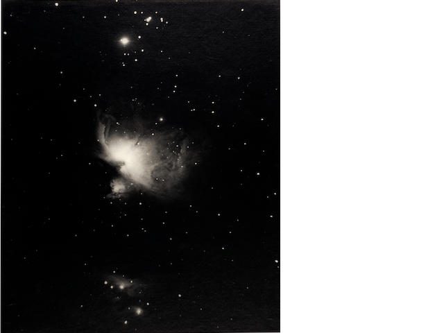 THE GREAT NEBULA IN ORION. Black and white photograph of the Great Nebula in Orion, by Andrew Ainslie Common.