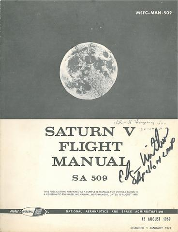 APOLLO 14 SATURN V FLIGHT MANUAL—SIGNED. Saturn V Flight Manual - SA 509. NASA/MSFC, August 15, 1969, changed January 1, 1971.