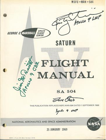 APOLLO 9 SATURN V FLIGHT MANUAL—CREW SIGNED. Saturn V Flight Manual - SA 504. NASA/MSFC, January 25, 1969.
