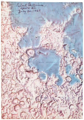 "LUNAR RELIEF MAP—SIGNED BY COLLINS. ""Mare nectaris and vicinity."" Plastic lunar relief map in color, low-lying areas in blue, highlands in yellow and brown,"