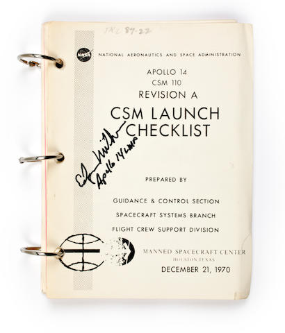CSM LAUNCH CHECKLIST FOR APOLLO 14. Apollo 14, CSM 110. Revision A. CSM Launch Checklist. Houston, TX: NASA/MSC, December 21, 1970.