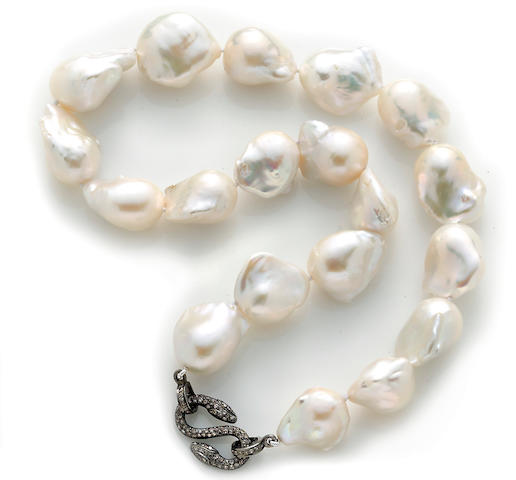 A baroque freshwater cultured pearl and diamond necklace