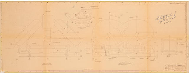 "LUNAR ROVER BLUEPRINT—SIGNED BY A DRIVER. ""Configuration Control Qual. and Flight Units, Lunar Roving Vehicle,"" blueprint, Boeing, Seattle, WA, March 16, 1970."