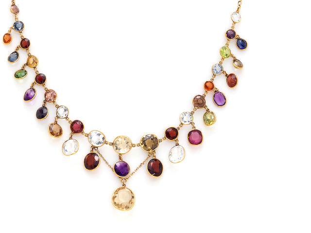 A multi-gem set fringe necklace