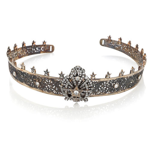 A diamond, gilt-silver and silver-topped fourteen karat gold tiara