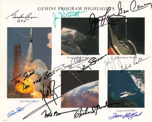 GEMINI PROGRAM HIGHLIGHTS—SIGNED BY 13. Color photolithograph, 8 x 10 inches,