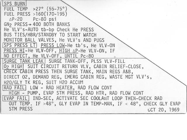 CUE CARD CARRIED ON APOLLO 12. Flown on Apollo 12, instrument panel data card, dated October 20, 1969.