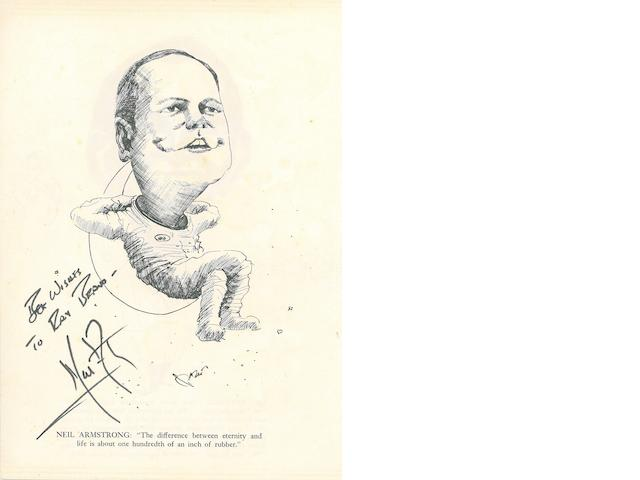 ARMSTRONG-SIGNED CARICATURE. Printed caricature of Neil Armstrong seated on a crescent Moon, on 9¼ x 6¾ inch sheet,