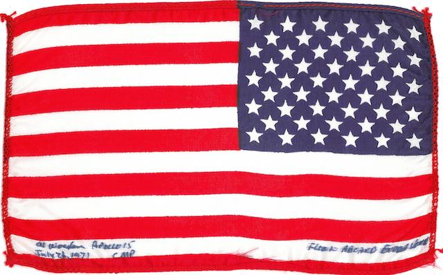 FLOWN ROUND THE MOON ON ENDEAVOUR. Flown United States flag, made from silk, 4 by 6 inches.