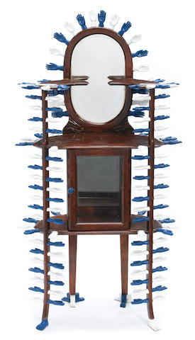 A Pedro Friedeberg wood and glass hall stand Juguetero 100 Manitas, 1987