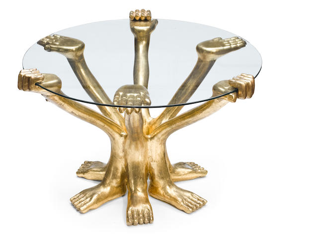 Pedro Friedeberg (Mexican, born 1937) Table Six Hands (Hand Foot Table)