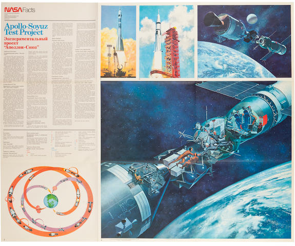 ASTP POSTER INSCRIBED BY STAFFORD IN RUSSIAN. Apollo-Soyuz Test Project. Washington, DC: GPO for Nasa Facts, [1975].