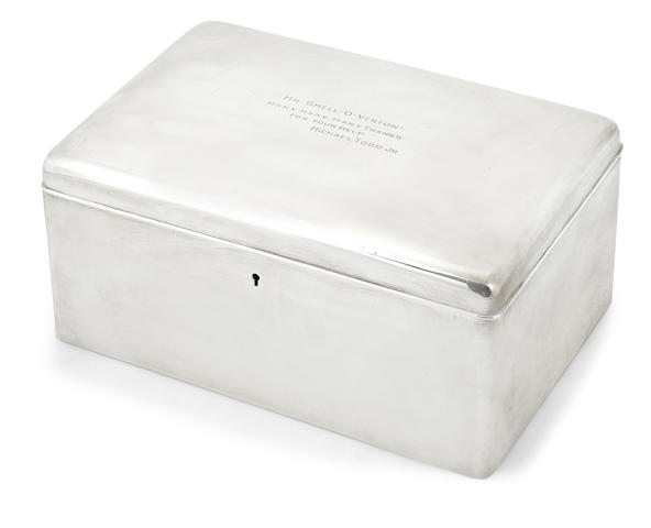 A Tiffany & Co. sterling silver humidor gifted to Milton Berle by Mike Todd, Jr.